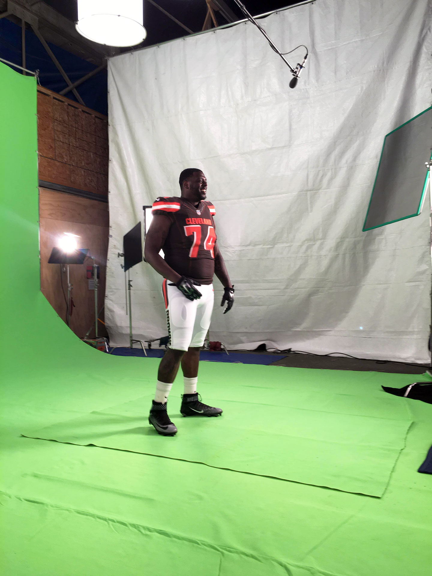 Recording Cleveland Browns on Green Screen with Scheops Microphone
